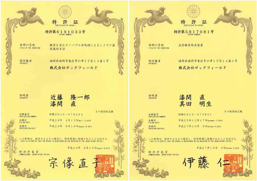 ウルトラファインバブル発生装置特許証